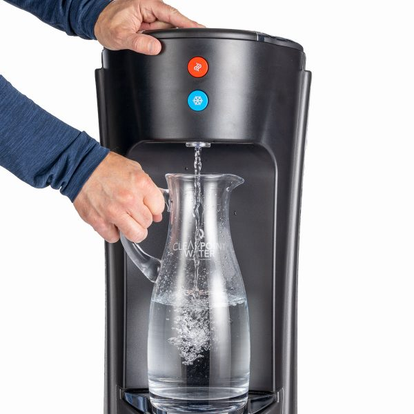 Filling a pitcher with the Olympia Bottleless water cooler